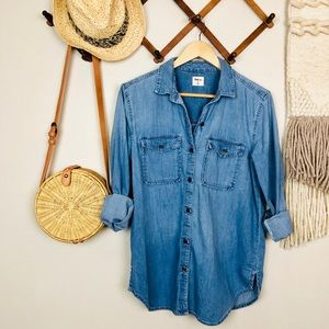 Gap Button Up Oversized Chambray Top